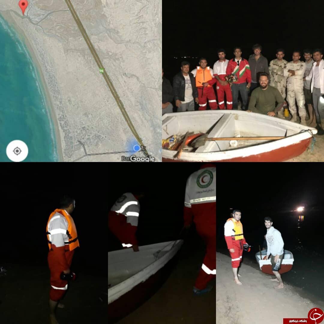 نجات 9 عضو یک خانواده که در مد دریا گرفتار شده بودند